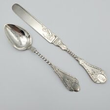 Antique Engraved Coin Silver Youth Knife & Spoon RW Wilson Philadelphia