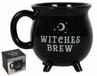 WITCHES BREW BLACK CAULDRON MOON AND STARS NOVELTY  MUG 10 CM TALL IN GIFT BOX