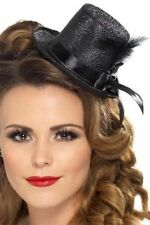 Smiffys Mini Tophat Ribbon and Feather - Black