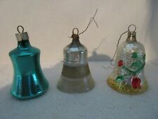 3 Antique Glass Bell Christmas Ornaments Germany Holiday Decorations
