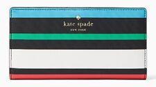 NWT Kate Spade Harding Street Fiesta Stripe Stacy Wallet Black Multi New $100