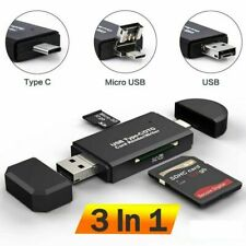Us 3-in-1 Type-C & Micro Usb To Usb Otg Adapter Sd Card Reader For Phone Laptop