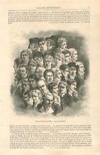 Groupe d'Artiste par Louis Léopold Boilly Peintre France GRAVURE OLD PRINT 1867