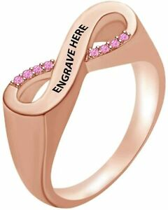 Round Simulated Tourmaline Engraved Name Infinity Band Ring in Sterling Silver