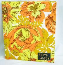 "Photo Album Vintage Yellow Brown Orange Flowers Floral 11.5"" X 8.5"" 10 Pages"