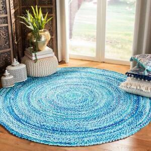 Rug 100% Natural Cotton 5x5 Feet Handmade Reversible Carpet Rustic Look Area Rug
