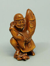 "1940's Japanese handmade Boxwood Netsuke ""Man and Fish"" Figurine Carving signed"