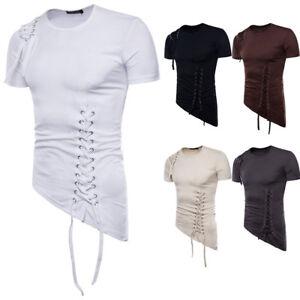 Men's Slim Fit Irregular Shirt Short Sleeve Muscle Tee T-shirt Casual Top Blouse