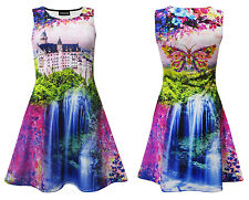 Waterfall Enchanting Castle Luscious Trees Butterfly Floral Flowers Skater Dress