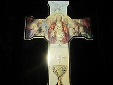 5 - Illustrated Communion Wall Cross - Jesus, Chalice and the Holy Spirit Dove