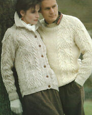 "Aran Sweater and Cardigan  Knitting Pattern Ladies and Mens pockets 32-48"" 537"