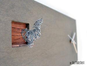 Cuckoo Clock Silver Bird.Concrete and Wood-Rectangle Wall Clock