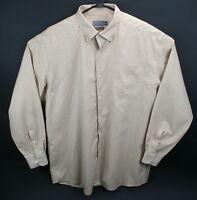 Talbots Men's  XXL beige and white check l/s shirt  EUC  wrinkle resistant