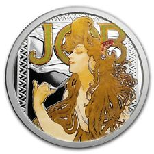 ALPHONSE MUCHA JOB COLORIZED 1 OZ SILVER COIN #1 IN SERIES #COA ANONYMOUS MINT