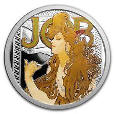ALPHONSE MUCHA JOB CANNABIS POT COLORIZED 1 OZ SILVER COIN #1 IN SERIES #COA