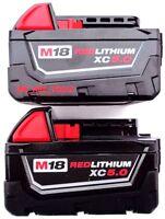 (2) GENUINE 18V Milwaukee 48-11-1850 5.0 AH Batteries M18 XC18 48-11-1852