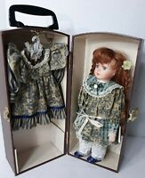 Vintage Porcelain Doll in Wooden Trunk Chest With Two Dresses