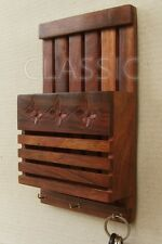 Wooden Wall Hung Letter Rack Shelf Key Hanger✿ Wood Handicraft Carved✿Home Decor