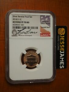 2018 S REVERSE PROOF LINCOLN CENT NGC PF70 RD LYNDALL BASS SIGNED LABEL