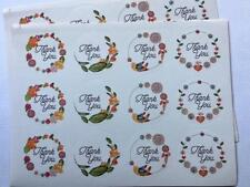 24 THANK YOU FLORAL CIRCLE STICKERS  labels seals gift treat bags