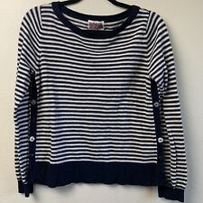 Rosie Neira Womens Sweater Medium Blue White Striped Shallop Pullover Buttons