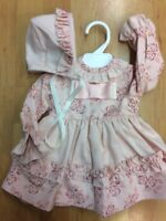 A Baby Girls Spanish Romany  Pink FLORAL Dress and Bonnet Set 3 - 36Months