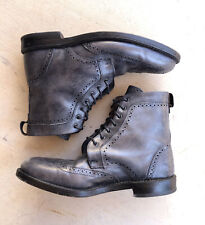 VTG Allen Edmonds Long Branch Mens 8 Wingtip Boots Gray Black Lace Up Cottagecor