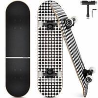 Complete Skateboard, 7-Layer Maple Wood Deck Double Kick Standard Skateboards