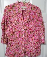 Jones New York Sport Size M Floral Linen Blend Top Blouse Mandarin Collar EUC