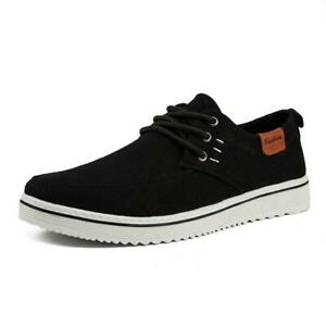 Mens Casual Lace Up Canvas Loafers Flats Comfy Outdoor Walk Driving Board Shoes