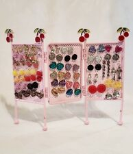 Girls Earrings Wholesale Lot with Cherry Pink Earring Holder Display 40 Pairs