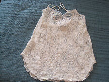 NEW ADONNA WHITE LACE PEARLS SEAQUINS CAMI CAMISOLE TANK SHORTY NIGHTGOWN M  USA