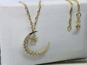 """Solid Genuine 9K Gold Moon&Star Pendant Necklace Necklet Chain 18"""""""