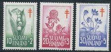 Finland 1958 MNH Flowers Lily Clover Hepatica Flora Tuberculosis Scott B148-150