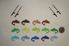 60 TROUT FISH & FISHING ROD DIE CUTS PUNCHES CONFETTI PARTY BLUE BROWN GREEN