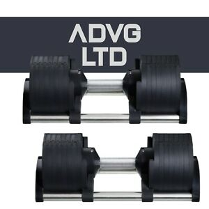 Pair of Adjustable Dumbbells - 2 x 32kg (64kg total) With Tray Holders