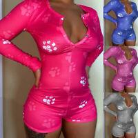 Women Sexy V Neck Bodycon Long Sleeve Jumpsuit Shorts Romper Bodysuit Leotard