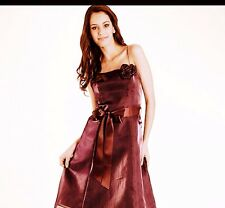 Debut Burgundy Red Plum Rose Organza Prom Satin Ribbon dress size S Small 8 •