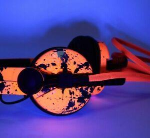 Custom Cans UV Neon Orange Black Splatter HD25 DJ Headphones 2yr Warranty