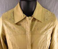 Pamela McCoy Leather Jacket Size XS Women's Beige Extra Small Tan Blazer Coat