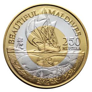 MALDIVES 250 RUFIYAA BIMETAL BI-METALLIC SAILING SHIP FISHES 1996