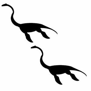 Qty 2 Dinosaur Plesiosaur Wall Sticker Kids Decal Pack AA Any Colour