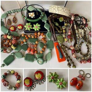 Job Lot Vintage Ceramic Jewellery inc Channel Islands Pendant, Earrings etc x17