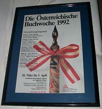 1992 AUSTRIA BOOK WEEK AUSTRIAN AIRLINES FRAMED ART POSTER MODERN AUTHOR INK PEN