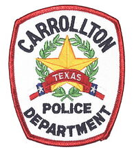 CARROLLTON TEXAS TX Police Sheriff Patch LONE STAR STATE SEAL WREATH WHITE ~