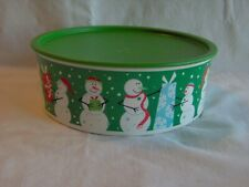 """TUPPERWARE ONE TOUCH """"F"""" SHORT COOKIE CANISTER #3421 Green Gift Snowmen Holiday"""