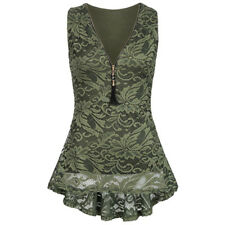 Womens Plus Size Summer Sleeveless Vest Blouse Shirts Lace Slim Tank Top Formal