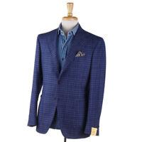 NWT $1750 G.ABO NAPOLI Blue Check Wool-Blend Sport Coat Slim 40 R (Eu 50) Gabo