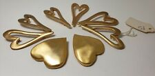 Vintage Lot of Rare Designer Heart ❤ Buttons Gold Heavy Metal New Shank XLarge