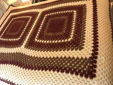 "Vtg Chocolate Brown Wine Creamy White Crocheted Squares Afghan 44""x60"" Handmade"